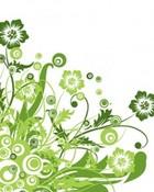 green floral swirls