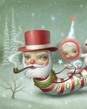 Free Santa Worm phone wallpaper by miathyria