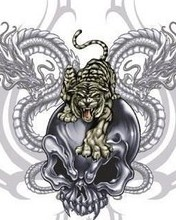 Free Vampire Skull with a Tiger and Dragons1.JPG phone wallpaper by nick786