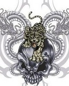 Vampire Skull with a Tiger and Dragons1.JPG wallpaper 1