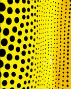 Yellow with black polka dots