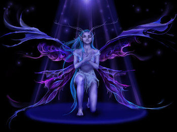 Free Unicorns & Faries_Very-Blue-Fairy-In-Light.jpg phone wallpaper by mkt1977xx