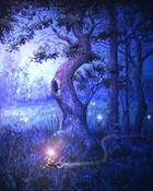 (Graphic - Artistic) The Fairies Tree - Fantasy Art - Blue Shaded.jpg wallpaper 1