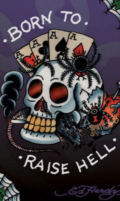 Free Ed Hardy Tattoo Born To Raise Hell phone wallpaper by dejasoul