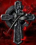 Free Dark Rose Cross.jpg phone wallpaper by zestyred