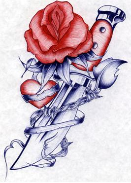 Free knife rose and heart.jpg phone wallpaper by shvez