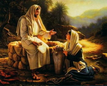 Free Jesus and Samaritan women at the well phone wallpaper by chriso