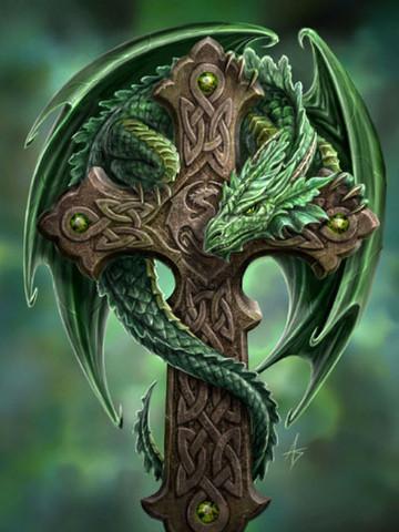 Free the-green-dragon-cross.jpg phone wallpaper by debblesrn