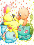 Free Remember___Kanto_starters_by_MiharuStar.jpg phone wallpaper by imadinosaur