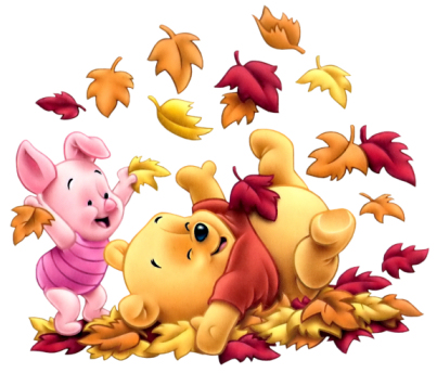 Free Pooh-Piglet-babies-leaves-autumn.jpg phone wallpaper by saidy