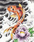 Koi and lotus wallpaper 1