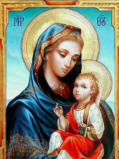 Free Virgin Mary with Baby Jesus   phone wallpaper by rex_66