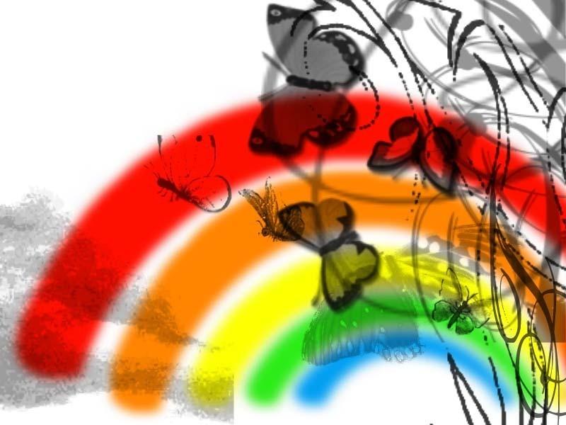 Free butterfly rainbow phone wallpaper by brandiwig84