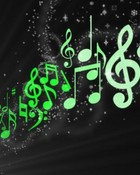 Green floating notes  wallpaper 1