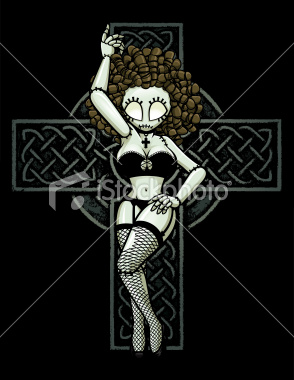 Free ist2_10717421-zombie-pin-up-girl-celtic-cross-pose.jpg phone wallpaper by rhondaclaridge