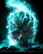 blue fire skull wallpaper 1