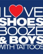 i love shoes booze n boys with tattoos! (blue)