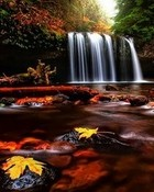 Autumn Waterfall HD wallpaper 1