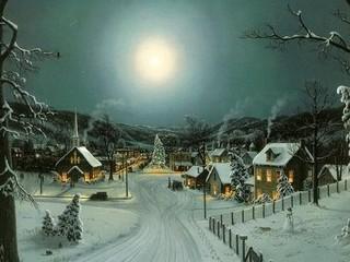 Free Peaceful Christmas Village phone wallpaper by missjas