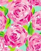Lilly Pulitzer Pink/blue floral background