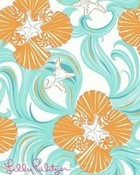 Lilly Pultizer Orange and Blue Florals