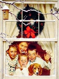 Free Christmas Morning Surprise Norman Rockwell phone wallpaper by missjas