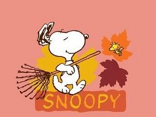 Free Snoopy Raking Leaves phone wallpaper by missjas