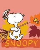 Snoopy Raking Leaves