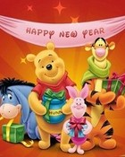Happy New Year from the Pooh Gang wallpaper 1