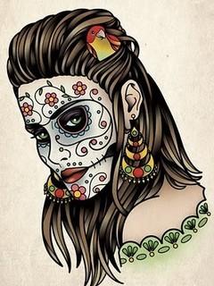 Free day-of-the-dead-girl-tattoo.jpg phone wallpaper by bullseye275