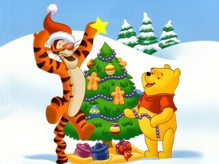 Free Winnie The Pooh Christmas phone wallpaper by missjas