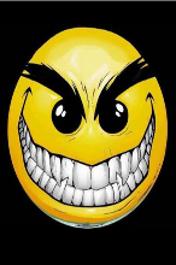 Free Evil Smiley! (black back) (176x220).jpg phone wallpaper by redding666