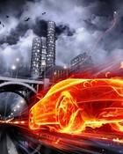 Car on fire wallpaper 1