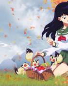 Kagome with Kirara and Her Kittens