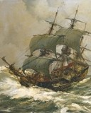 Free Montague Dawson-Old Timer On Rough Seas phone wallpaper by ring_tone_master