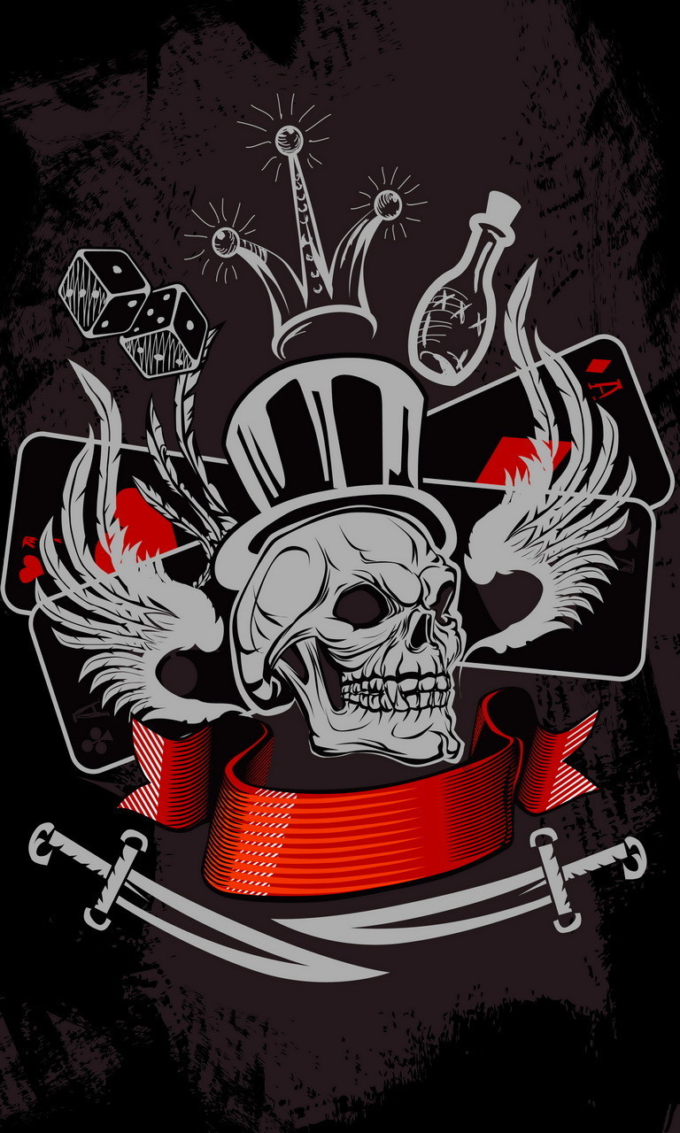Free Skull-Tophat.jpg phone wallpaper by twifranny