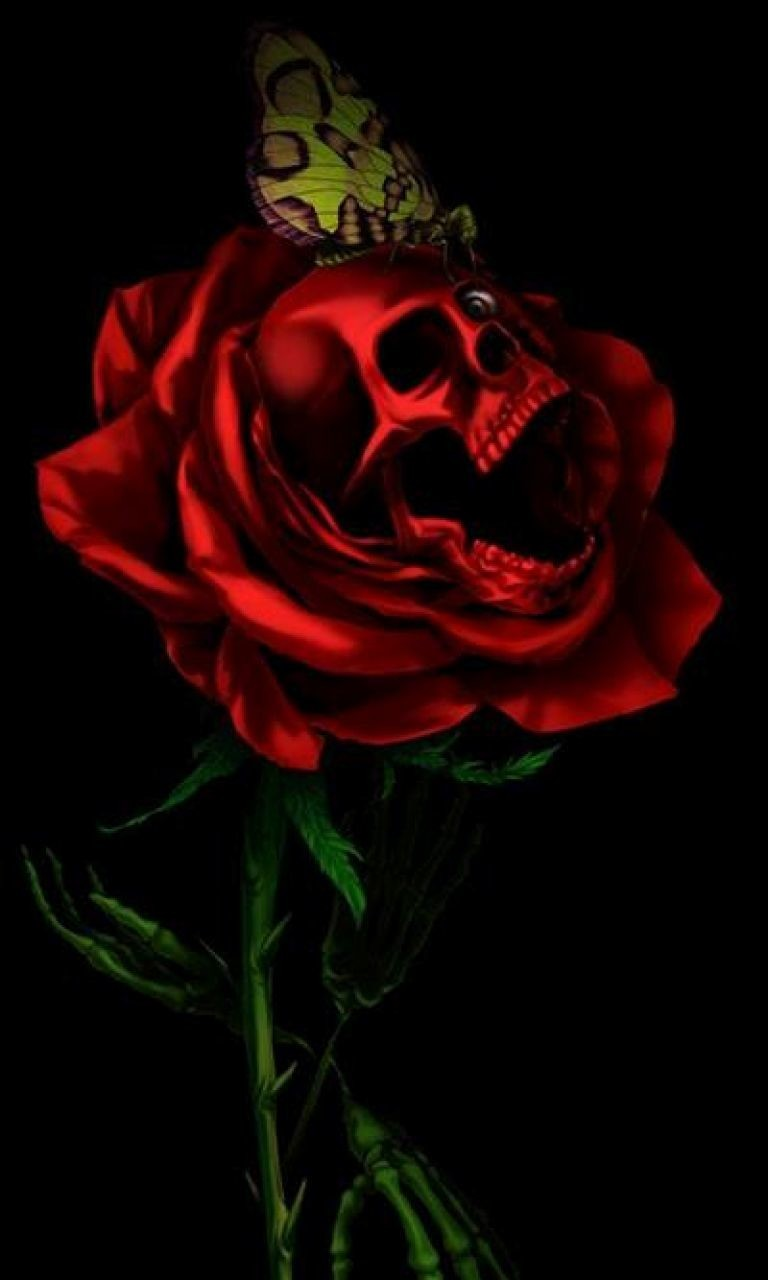 Free Skull and Rose.jpg phone wallpaper by twifranny