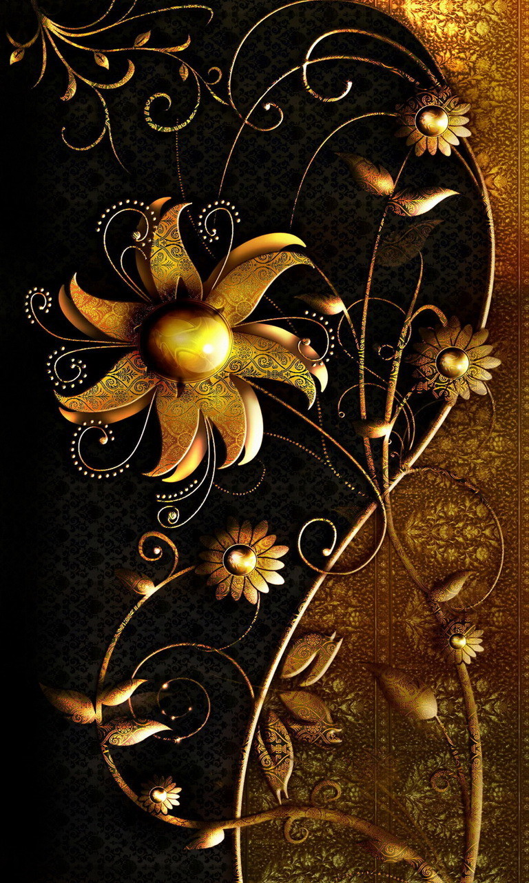 Free Abstract Gold Flowers.jpg phone wallpaper by twifranny