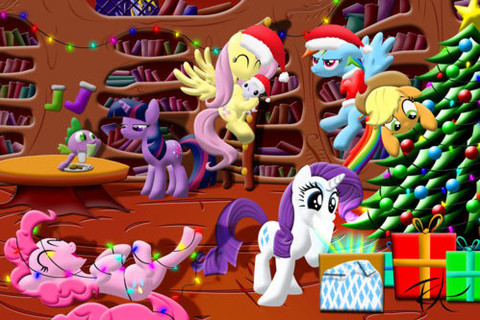 Free my little pony christmas phone wallpaper by pegasisterhannah