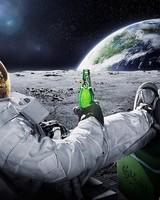 Astronaut drinking beer on the Moon