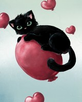 Cute Kitty Floating On Heart Baloons