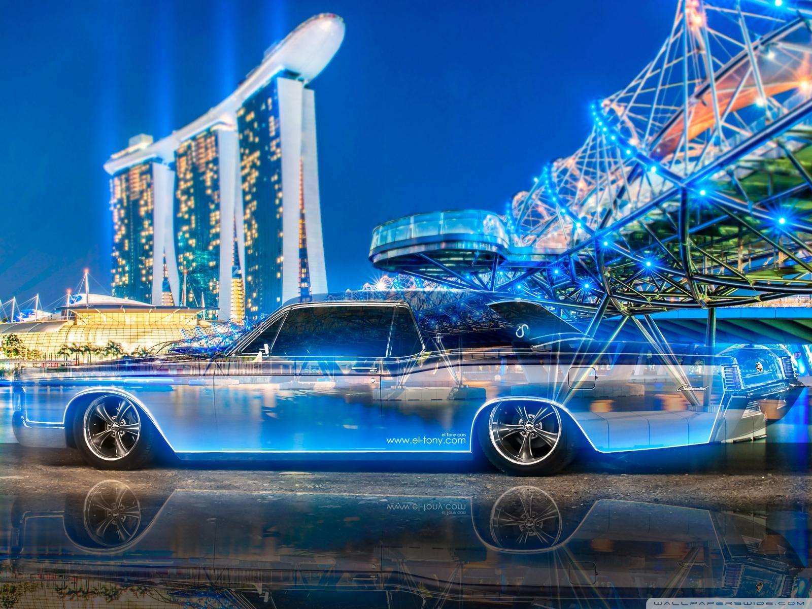 Free Lincoln Continental Crystal City Night Neon phone wallpaper by kearsha
