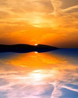 Orange Sky Reflected in a Calm Sea