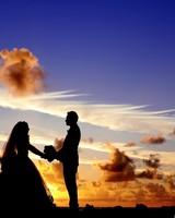 Wedding Tropical Sunrise Silhouette