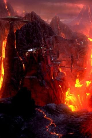 Free STAR WARS: Revenge of the Sith - Mustafar, Klegger Corp. Mining Facility phone wallpaper by epictones