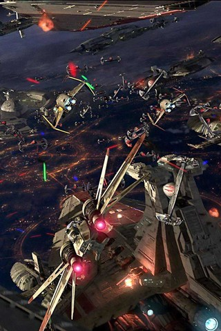 Free STAR WARS: Battle Over Coruscant phone wallpaper by epictones