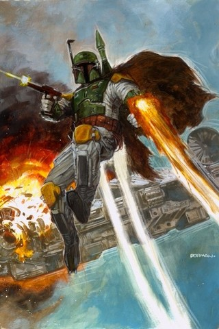 Free STAR WARS: Dave Dorman - Boba Fett and the Millennium Falcon phone wallpaper by epictones