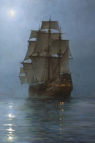 Free Montague Dawson - Full Sail under a crescent moon phone wallpaper by epictones