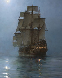 Montague Dawson - Full Sail under a crescent moon