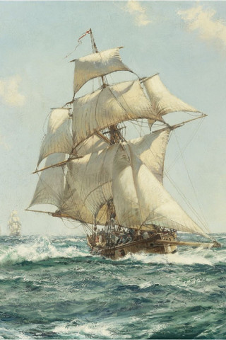 Free Montague Dawson - British Frigate full sail phone wallpaper by epictones